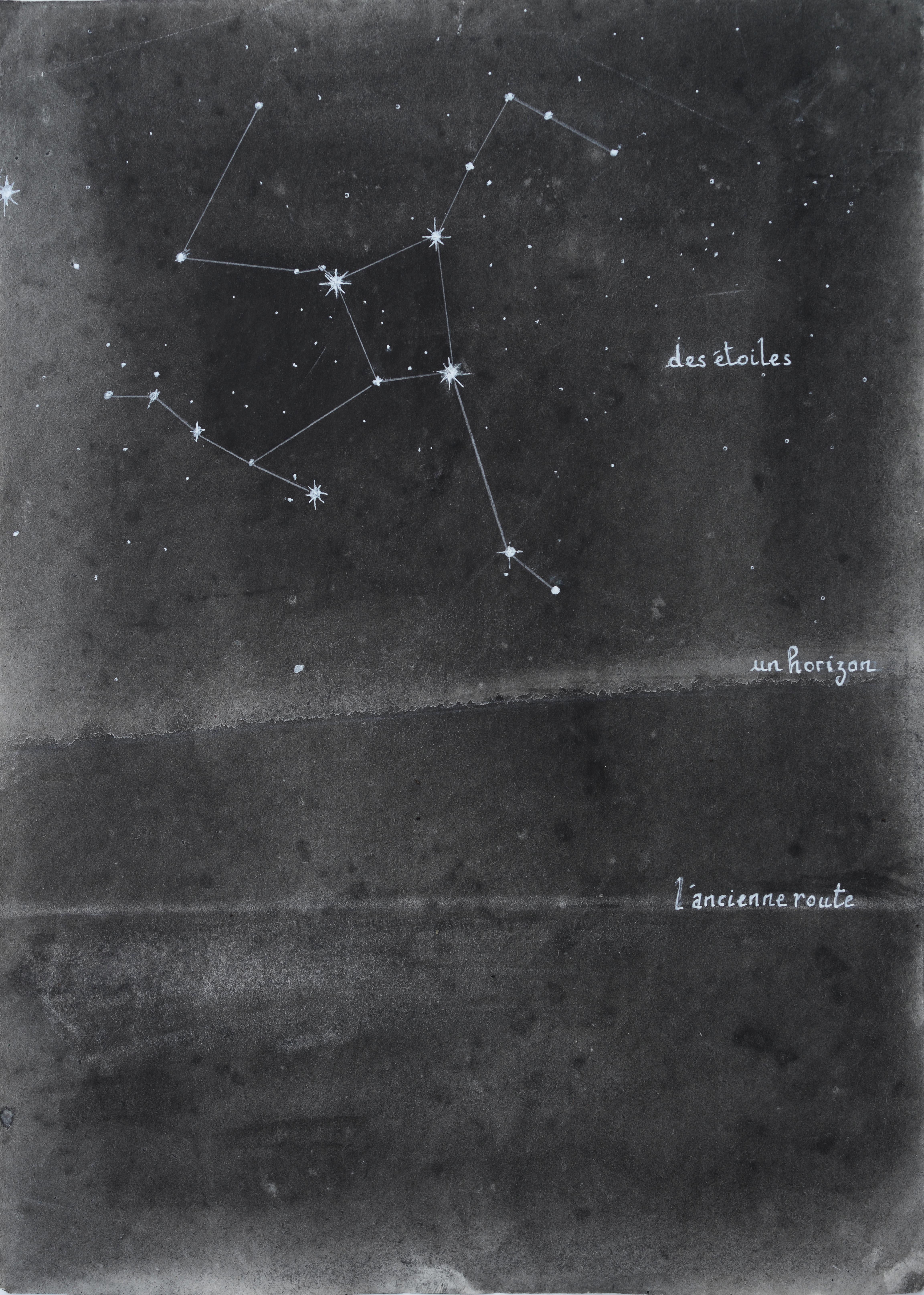 Des étoile, l'horizon, l'ancienne route